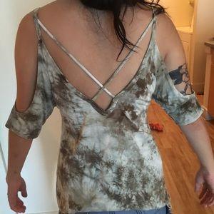 off the shoulder tye dye top